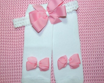 Baby Girl White Leg Warmers Headband with Pink Bows Newborn Baby Shower Gift Coming Home Outfit