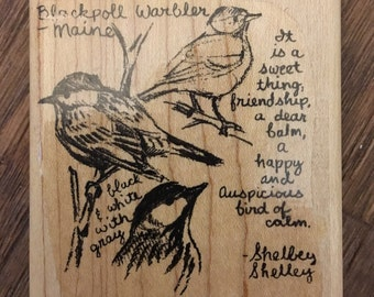 Stampin' Up Wood Mounted Rubber Stamp Blackpoll Warbler -Maine