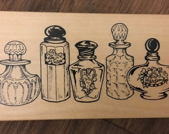 PSX Rare Wood Mounted Rubber Stamp of Perfume Bottles