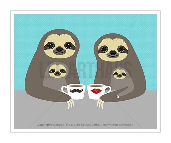 35J Sloth Art Print - Coffee Sloth Family Wall Art - Family Portrait - Sloth Lover Gift - Coffee Wall Art - Sloth Nursery Wall Art Print
