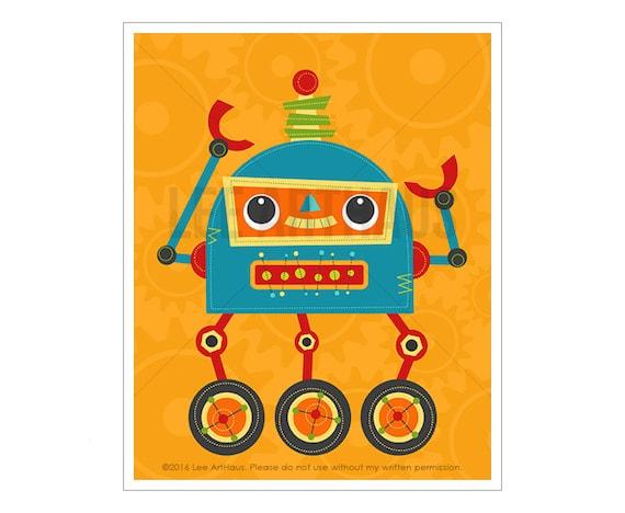 Robot Art - Robot 10 Wall Art - Robot Nursery Print - Robot Baby Boy Nursery Art - Robot Wall Art - Robot Illustration - Modern Robot Art
