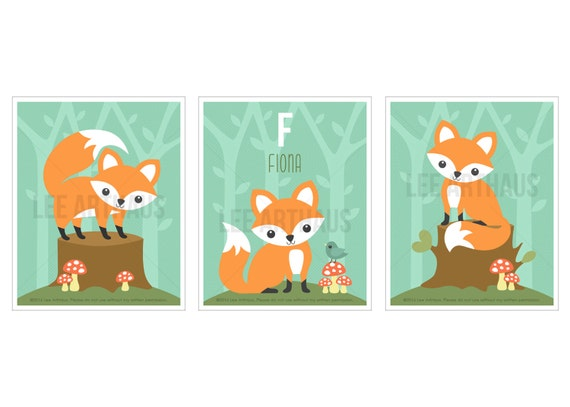 3S Fox Print - Fox Print Set with Custom Name Wall Art - Fox Print Set of 3 - Woodland Nursery Set - Personalized Baby Gift - Fox Wall Art