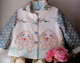 Size 4 Vintage Embroidered Spaniel Puppy Coat