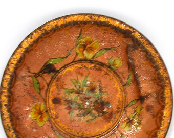 """1900s Antique tin toy tea plate, Childrens play saucer with yellow flowers. 4""""."""