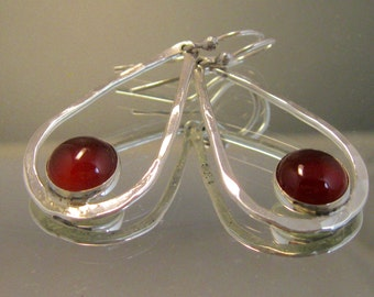 Sterling silver and carnelian teardrop hoop earrings, Carnelian and sterling long dangle earrings, Sterling teardrops