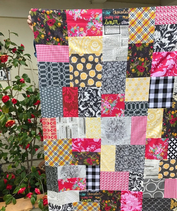 READY TO SHIP Grey & Red Floral Patchwork and Minky Blanket