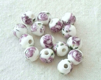 10 mm Purple Porcelain Flower Beads in a Set of 16