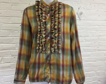1980s Plaid Blouse with Triple Row of Ruffles, size L