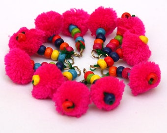 Pom Pom Tassels, Set of 10pc, Hot Pink w/ Multi Colored wood Beads and a O'ring,Banjara, Kutch Style Tassels, Scarf/bag/home Decor