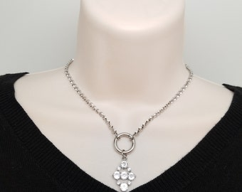 Discreet Slave Collar O Locking necklace Stainless Steel Chain With Captive Segment Ring Clasp And Removable Pendant