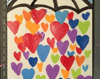 Showered with Love Hand painted notecard