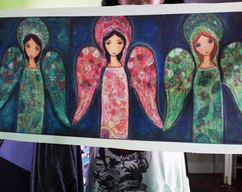Three Angels  - Large Print on Fabric from Original Painting (13 x 30 inches) by FLOR LARIOS