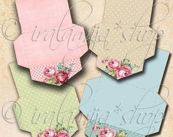 SALE SHABBY MINI Envelopes Collage Digital Images -printable download file Scrapbook Printable Sheet