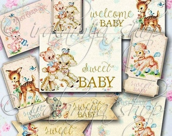 SALE SENT FROM Heaven collage Digital Images -printable download file- Digital Collage Sheet/Vintage Paper Scrapbook/Baby Printables/Baby