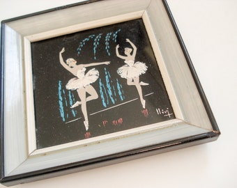 FOUND IN SPAIN -- Tiny ballet picture - ballerinas painted on glass