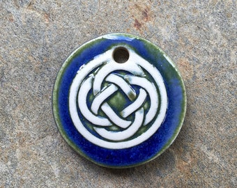 Deep Blue Ceramic Celtic Circle Pendant