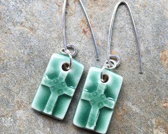 Green Ceramic Rectangular Cross Earrings
