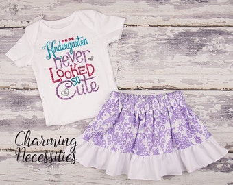 Back To School Outfit, Toddler Girl Clothes, Glitter Top Twirl Skirt, Kindergarten Never Looked So Cute Lavender Damask Charming Necessities