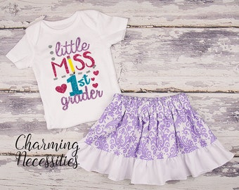 Back To School Outfit, Toddler Girl Clothes, Glitter Top Twirl Skirt, Little Miss First Grader Lavender Damask Charming Necessities