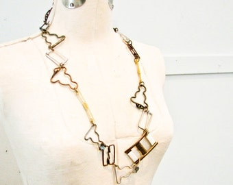 Sale Metal Links Necklace, Vintage Buckles, Long Necklace, Metal Links, Statement, Gold , Bronze and Silver Links - Unusual