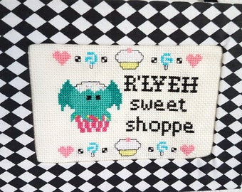 PDF Cross Stitch Pattern R'lyeh Sweet Shop -Cthulhu H.P. Lovecraft-Biibliophile-Cthulhu Mythos-Gifts for Readers-Geekery