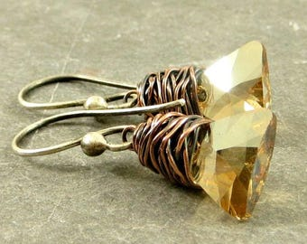 Triangle Crystal Earrings, Wire Wrapped Jewelry Copper Jewelry Gifts for Her