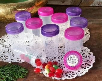20 Empty Party JARS Plastic Container Transparent Pink & Purple Caps Doc McStuffins Party DecoJars #4314