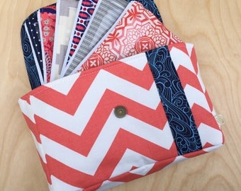 Cash Envelope Wallet - Cash Envelope System - Cash Budgeting System - Zipped Cash Envelopes - Coral and Navy