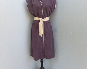 Vintage 1970s Malouf of Dallas, Velour Dress, Knit Dress, Career or School Day Dress, Wine Color, Button Front  Dress