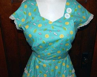 Vintage 40s 50s aqua button novelty print cotton day dress L XL