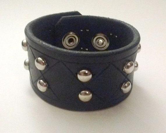 Leather Wrist Cuff Goth Bracelet Black and Chrome by Raptor Arts