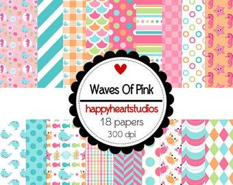 DigitalScrapbooking WavesofPink Ocean, Pink, Orange -InstantDownload