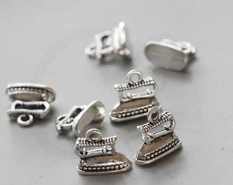 10 Pieces Oxidized Silver Tone Base Metal Charms-Iron Machine 14.5x12.8mm (3743X-V-44)