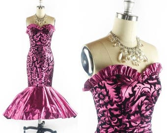 40% OFF SALE Vintage 80s Prom Dress // 1980s Prom Dress // Mermaid Dress // PINK Metallic Lame Dress // Flocked Strapless Dress - sz S - 26