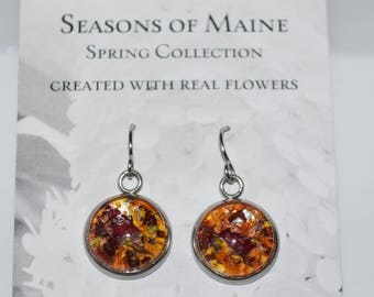 Flower Petal Earrings made with real Maine flower-Made in Maine Jewelry-Maine nature inspired jewelry