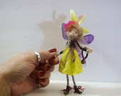 ooak poseable purple wings PIXIE fairy ( #1 ) polymer clay art doll by DinkyDarlings   faerie faery angel