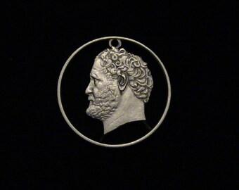 Greece - cut coin pendant - Democritus, Ancient Greek Philosopher - 1988