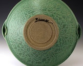 Handmade Stoneware Pottery Basket Bowl Green Oak Leaf Bowl
