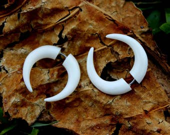 Fake gauge earrings,  Natural  Bone, Split Gauge Earrings,  hand carved,tribal style,organic X Small