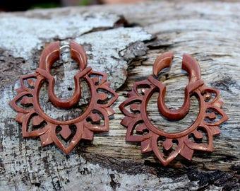 Fake Gauges Earrings,tribal style,split gauge,earrings,cheater,faux gauge,wody piercings,hand made