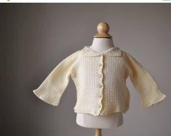 SPRING SALE 1950s Cream Knit Cardigan~Size 3 Months
