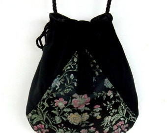Boho Floral Black Satin Bag Black Pocket Boho Bag  Drawstring Bag   Bohemian Bag  Crossbody Purse