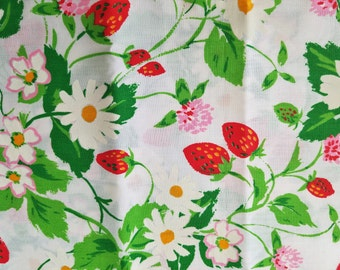 Vintage Fabric with Strawberries and Daisies