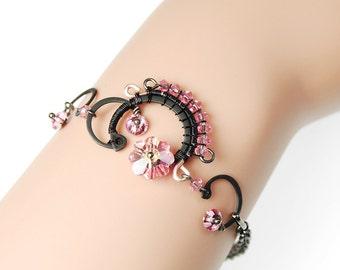 Pink Swarovski Crystal Bracelet, Wire Wrapped, Bridal Jewelry, Feminine Jewelry, Industrial Jewelry by Youniquely Chic, Themis III v7