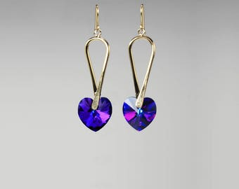 Swarovski Crystal Earrings, Choose Your Crystal Color, 24K Gold Plated, Crystal Hearts, Fancy Earrings, Bold Earrings, Bridal Jewelry