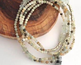 tiny delicate amazonite and aquamarine wrap stretch bracelet necklace with silk tassel, tiny beaded necklace, tiny beaded bracelet, tassel