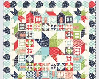 "PATTERN SUMMERVILLE House block Quilt  70"" x 70""   We combine shipping"