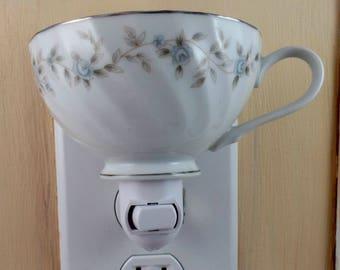 Style House Fine Bone China Blue Rose Pattern Tea Cup Custom Made Night Light