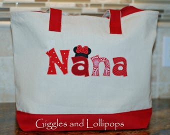 Personalized Disney cruise minnie mickey tote bag Nana tote