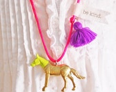 Gold Horse Necklace. Tassel Necklace. Girls Horse Necklace. Childrens Jewelry. Gifts for Horse Lovers. Boho Necklace. Horse Jewelry